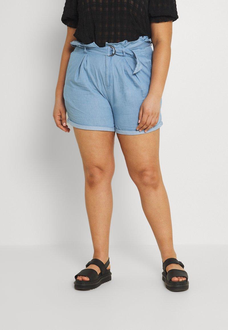Missguided Plus - PAPERBAG WAIST - Shorts - blue