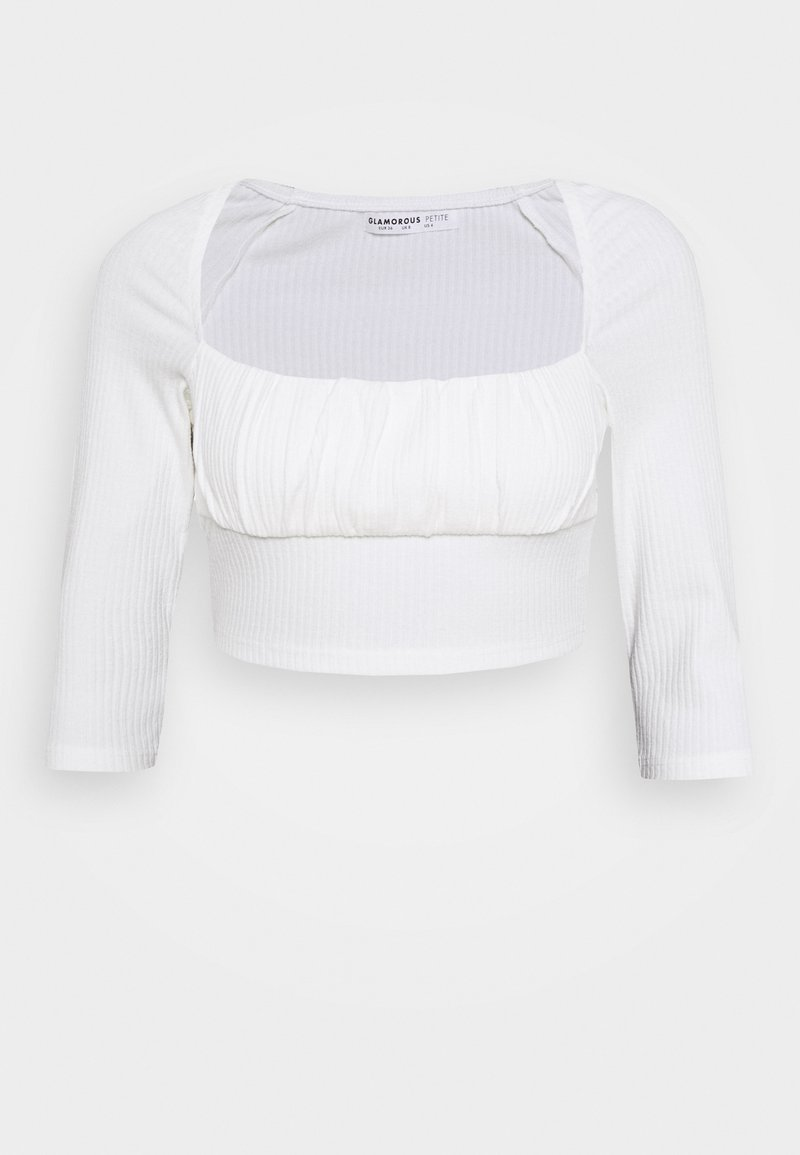 Glamorous Petite - RUCHEL PANEL LONG SLEEVE TOP - Long sleeved top - off white