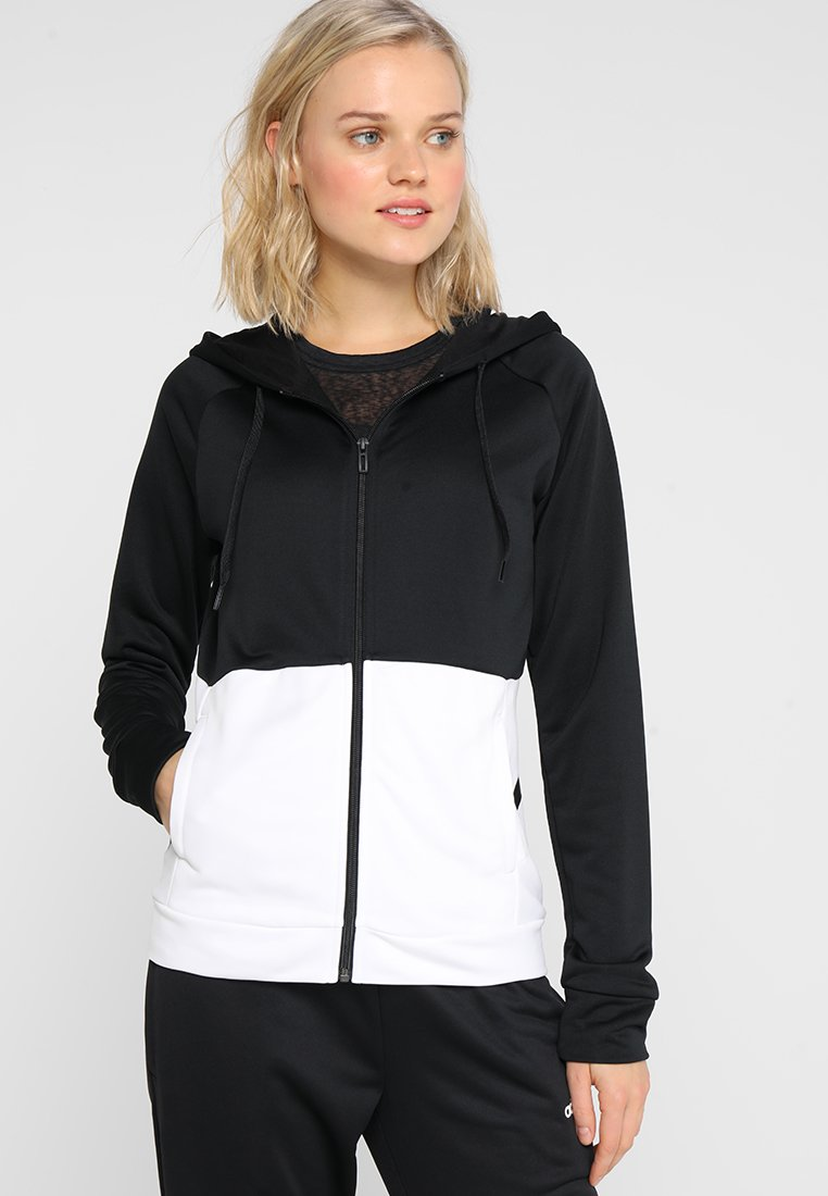adidas Performance - LIN HOOD SET - Zip-up hoodie - black/white