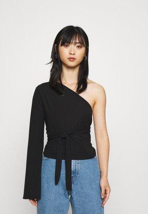 TIE SIDE ONE ARM - Long sleeved top - black