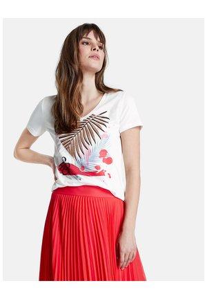 MIT FRONT-PRINT - Print T-shirt - offwhite gemustert