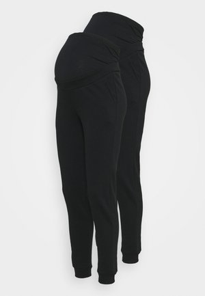 2 PACK - REGULAR FIT JOGGERS - OVERBUMP - Träningsbyxor - black/black