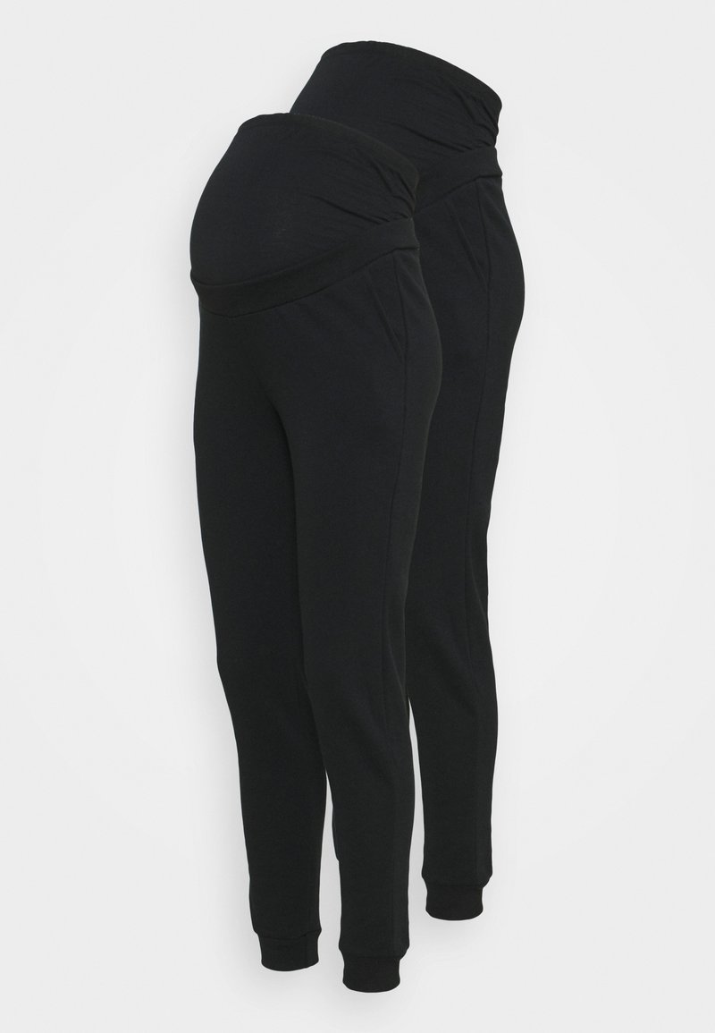 Anna Field MAMA - 2 PACK - REGULAR FIT JOGGERS - OVERBUMP - Tracksuit bottoms - black/black