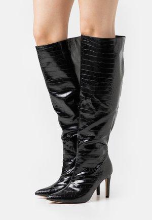 TUBULAR BOOTS - Kozačky nad kolena - black