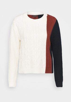 BLOCKED CABLE CREW SKIMMER COLORBLOCK - Jumper - ivory/multi