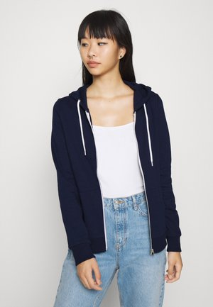 BASIC SWEAT JACKET WITH CONTRAST CORDS REGULAR FIT - Mikina na zip - dark blue