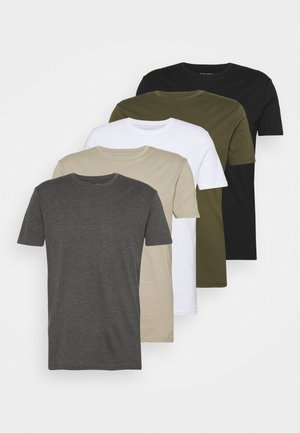 5 PACK - T-shirts basic - white/dark grey/black