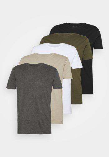 5 PACK - T-shirt - bas - white/dark grey/black