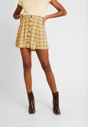 PLAID MIDI SKIRT - Mini skirt - yellow