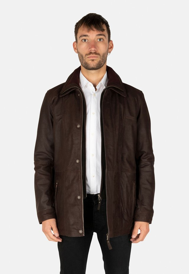 Leren jas - dark brown