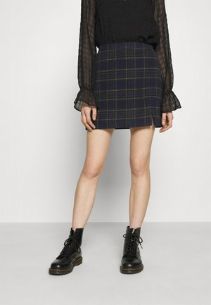 CHAIN PLAID MINI STATEMEN - Mini skirt - navy