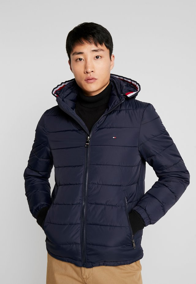 QUILTED HOODED JACKET - Chaqueta de entretiempo - blue