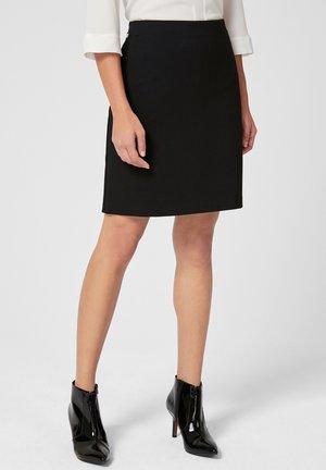 MIT GESTREIFTEM BUND - Pencil skirt - black