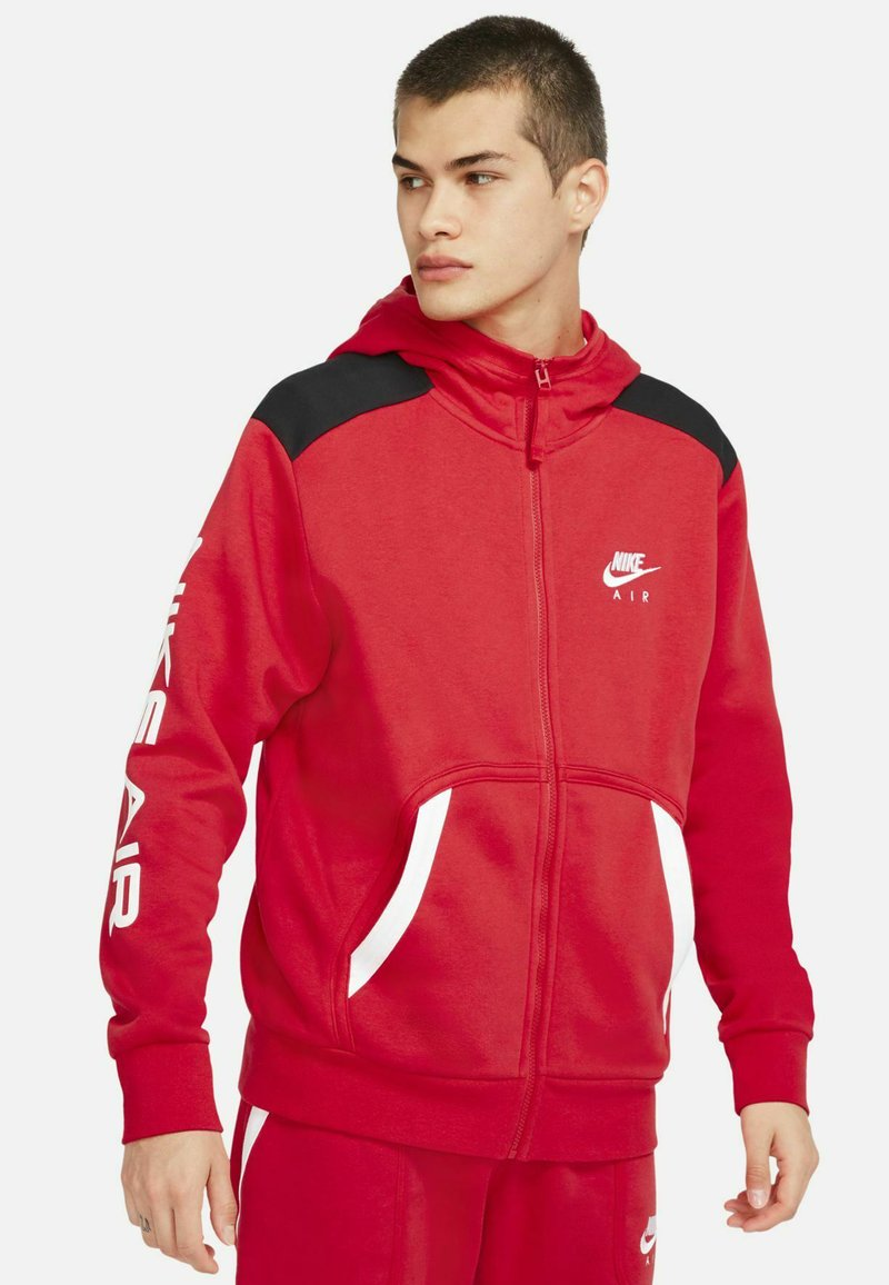 Nike Sportswear - HOODIE - Zip-up sweatshirt - university red black white
