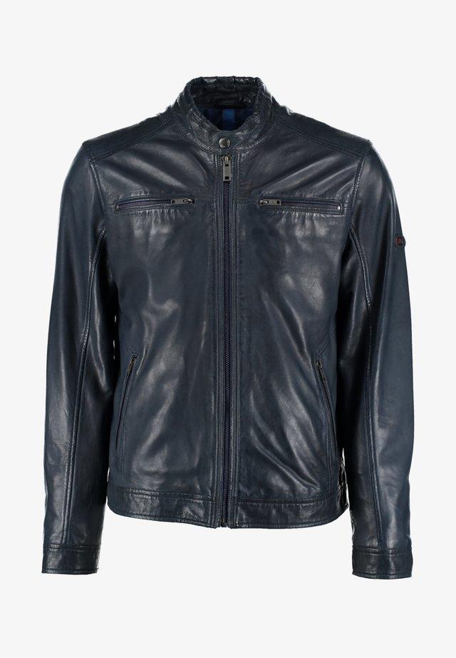 MIT ABGESETZTEM BUND UND STEHKRAGEN - Leather jacket - dark blue