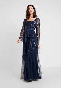Maya Deluxe - SQUARE NECK STRIPE EMBELLISHED MAXI DRESS WITH FLUTED SLEEVES - Occasion wear - navy - 2