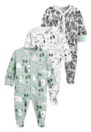 GREEN/WHITE 3 PACK JUNGLE CHARACTER SLEEPSUITS (0MTHS-2YRS) - Pyjamas - green