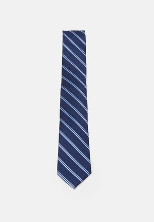 CROSSHATCH AND STRIPE - Tie - navy
