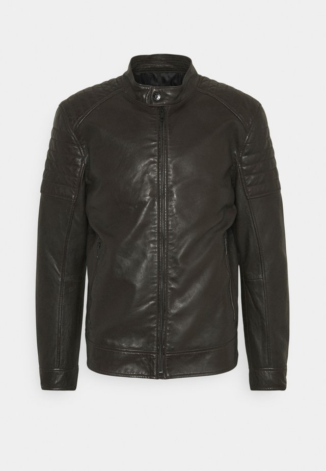 DERRY - Leather jacket - dark brown