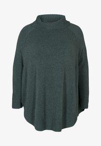Zizzi - PONCHO - Stickad tröja - green - 3