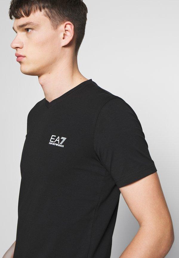 EA7 Emporio Armani V NECK - T-shirt z nadrukiem - black/antracytowy Odzież Męska VYLI