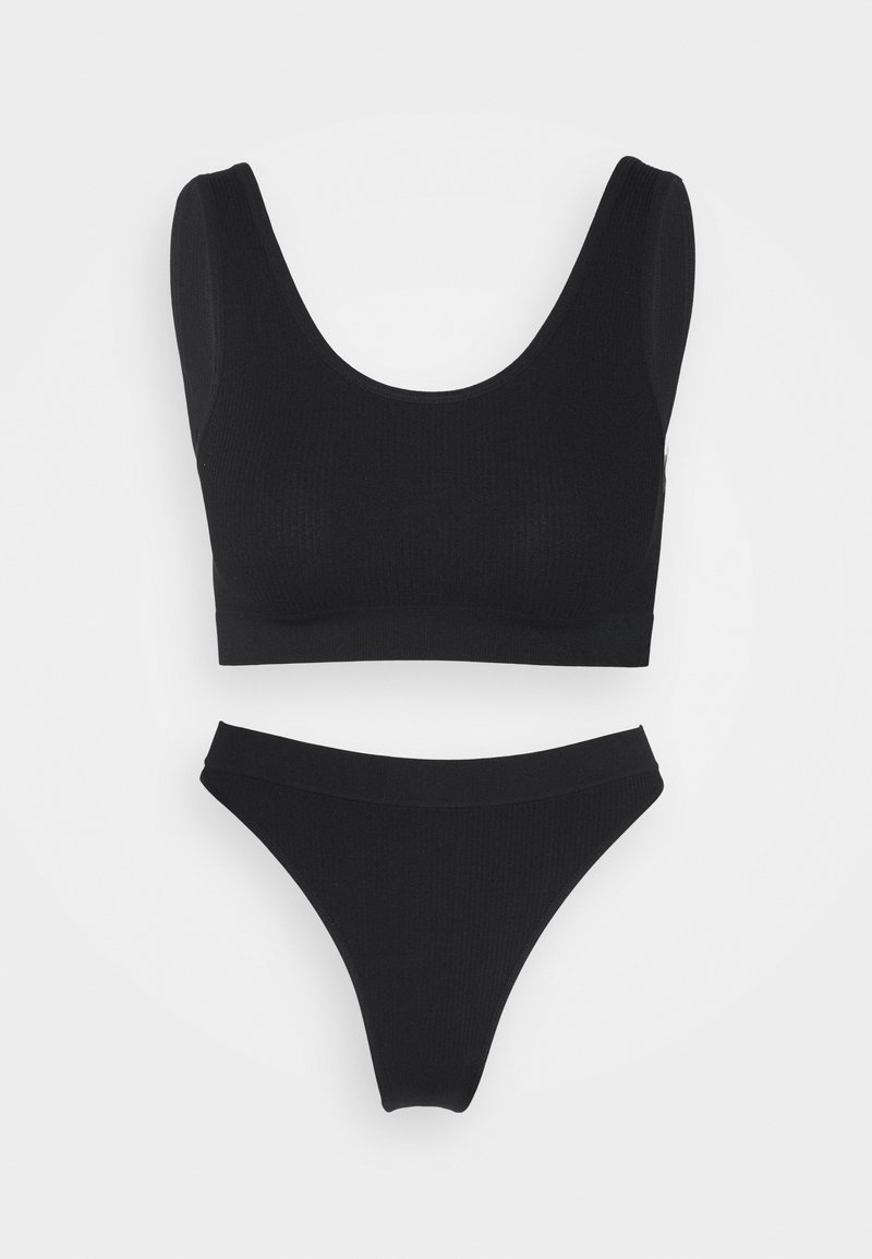 Cotton On Body - SEAMFREE CROP BRALETTE SEAMFREE HIGH CUT BRASILIAN - Trusser - black