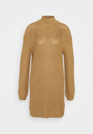 NMSIAN HIGH NECK DRESS - Strikket kjole - tigers eye