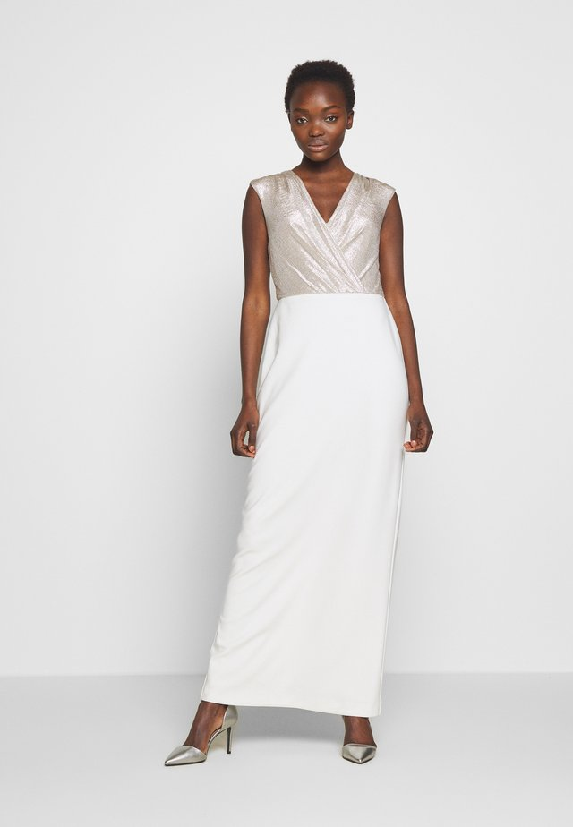 BONDED LONG GOWN COMBO - Robe de cocktail - matte ivory/champ