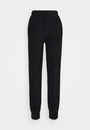 HIGH WAIST TOWELLING - Tracksuit bottoms - black