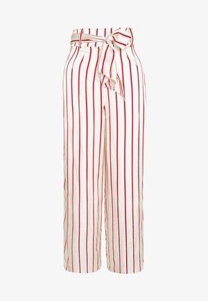 WIDE LEG TROUSER WITH TIE BELT - Spodnie materiałowe - red