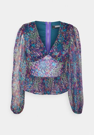 V NECK BALLON SLEEVE - Long sleeved top - multi