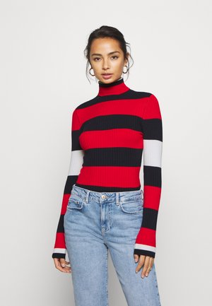 ONLKAROL ROLLNECK  - Jersey de punto - night sky/high risk red