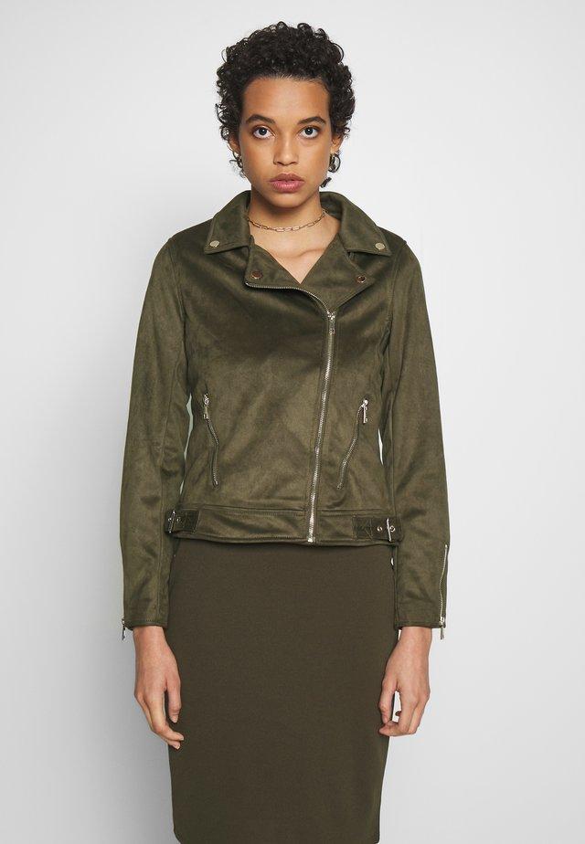 SUEDETTE BIKER JACKET - Faux leather jacket - khaki