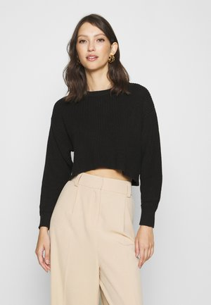 HIGH CROPPED JUMPER - Strickpullover - black