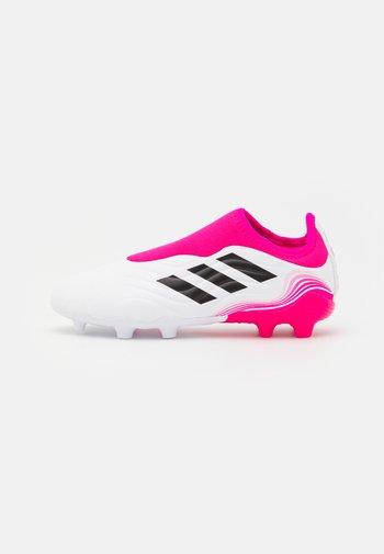 COPA SENSE.3 FG UNISEX - Moulded stud football boots - footwear white/core black/shock pink