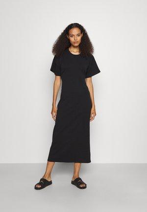 T-SHIRT DRESS WITH OPEN BACK - Maxi-jurk - black