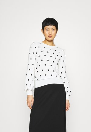 SPOT PUFF SLEEVE CREW NECK - Jumper - ivory