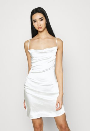 WATERFALL DRAPED MINI DRESS - Cocktailjurk - white