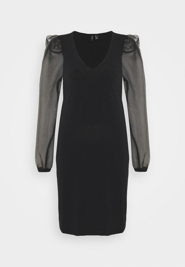 VMALBERTA PUFF V-NECK DRESS - Day dress - black