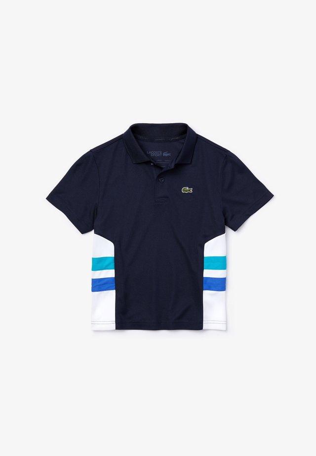 LACOSTE SPORT - POLO MANCHES COURTES ENFANT - Poloshirt - bleu marine/blanc/turquoise/bleu