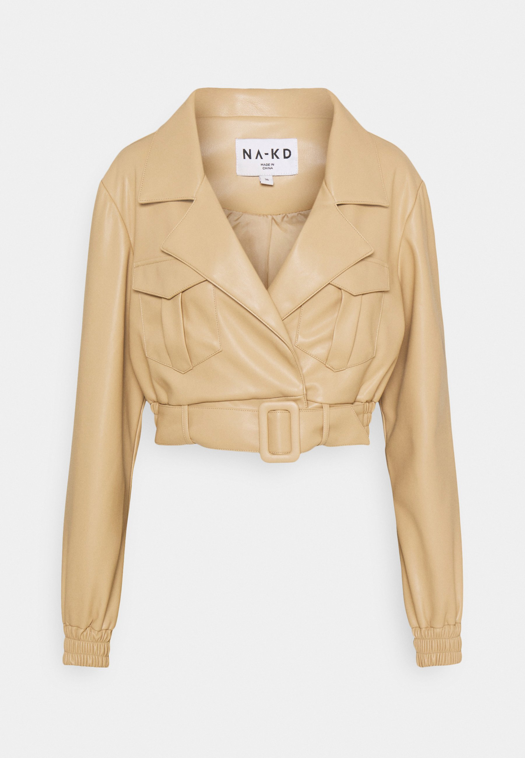 Women BELTED CROPPED JACKET - Faux leather jacket