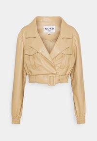 NA-KD - BELTED CROPPED JACKET - Faux leather jacket - beige - 0