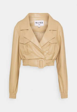 BELTED CROPPED JACKET - Faux leather jacket - beige