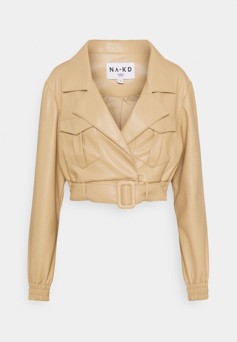 NA-KD - BELTED CROPPED JACKET - Faux leather jacket - beige