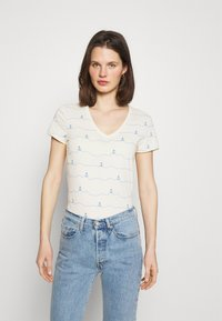 TOM TAILOR DENIM - V-NECK TEE - T-shirt imprimé - creme - 0