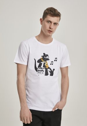 BANKSY HIPHOP RAT  - Print T-shirt - white