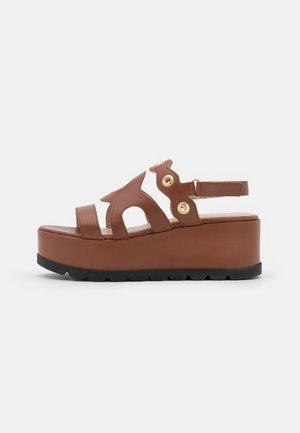 WEDGES - Platform sandals - henna