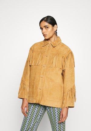 JACKET - Leather jacket - camel