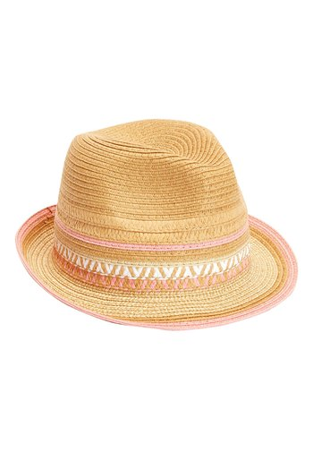 STRAW PINK TRIM TRILBY (OLDER)