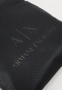 Armani Exchange - SMALL FLAT CROSSBODY BAG - Across body bag - black/gunmetal